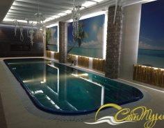 Переливной композитный бассейн с подсветкой